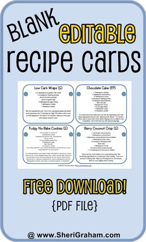 editable card template free blank editable recipe cards 1 2 4 card versions free