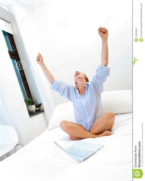 working in bed successful woman working on bed stock images image 10504624