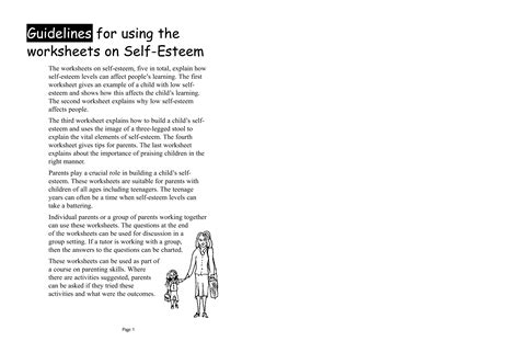 Self Esteem Worksheets For Adults Pdf by 14 Best Images Of Free Printable Self Esteem Worksheets