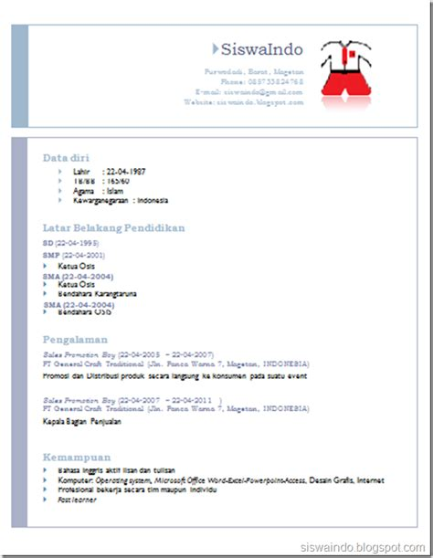 format cv di ms word siswaindo tips membuat cv dari template default ms word 2007