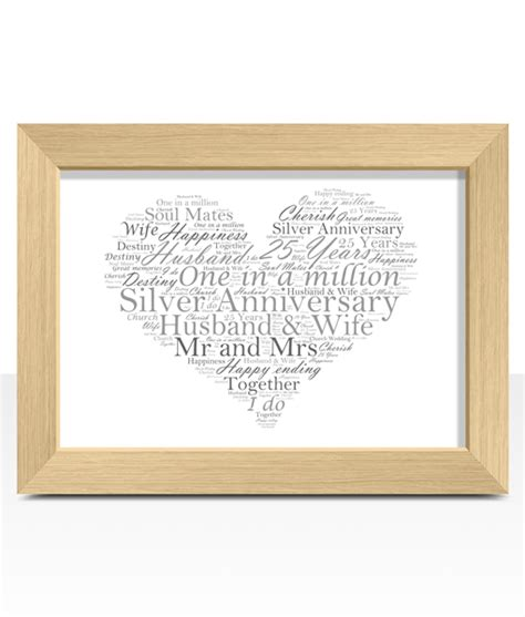 Wedding Anniversary Gifts Oak by Silver Wedding 25th Anniversary Word Gift Abc Prints