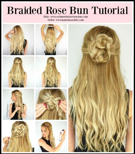 hair extensions hairstyles tutorial braided rose bun tutorial cashmere hair extensions