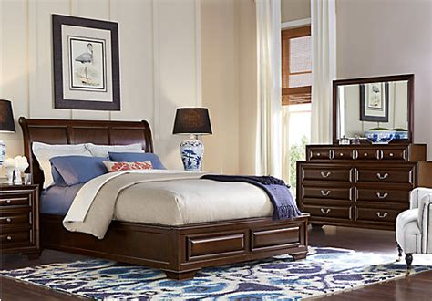 sale regal traditional 5 pc cherry sleigh bedroom set mill valley ii cherry 5 pc queen sleigh bedroom traditional