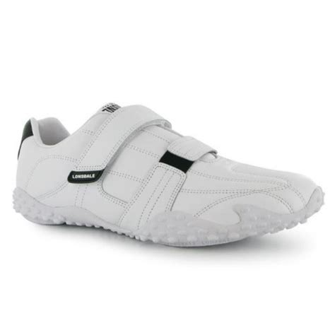 Sepatu Lonsdale Fulham Mens Trainers White Navy lonsdale mens gents fulham velcro trainers shoes