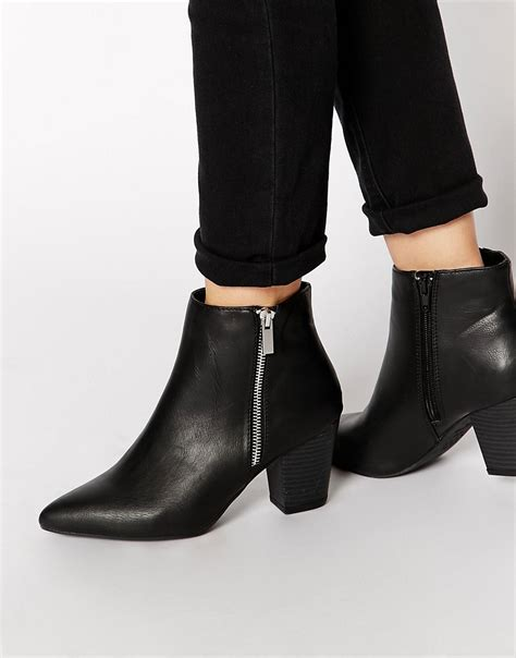 Pointed Block Heel Ankle Boots new look new look beastie black pointed block heel ankle
