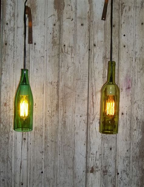 Wine Bottle Light Fixtures Wine Bottle Light Fixture With Edison Light Bulb Rustic Weddings Just