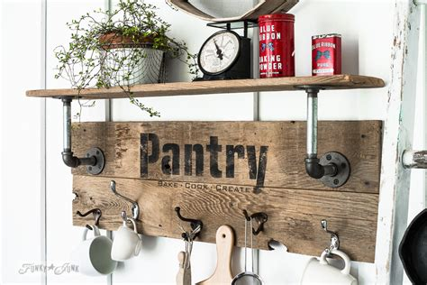 industrial farmhouse reclaimed wood  pipe pantry