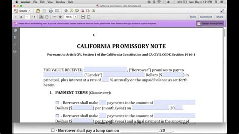 How To Write A California Promissory Note Pdf Word Youtube Promissory Note Template California