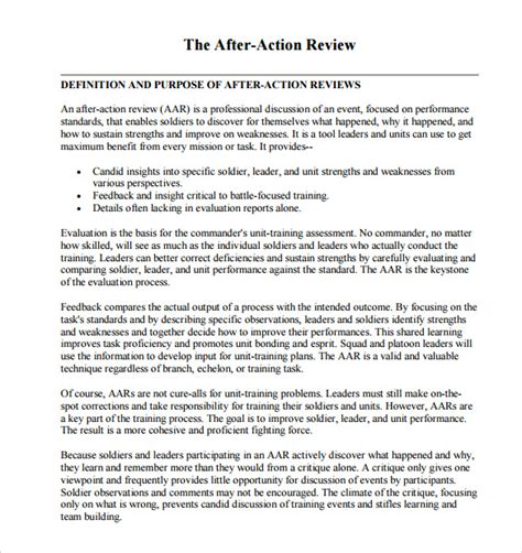 after action review template 7 download documents in