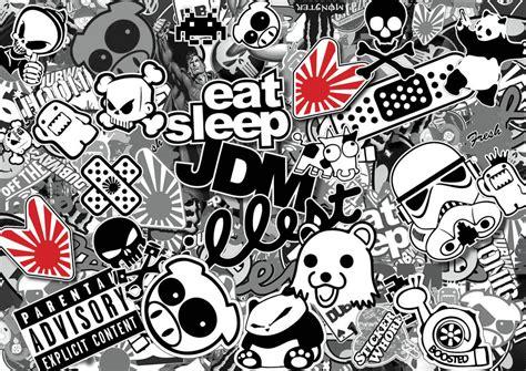 jdm sticker bomb x4 jdm black white sticker bombing sheets a4 sticker