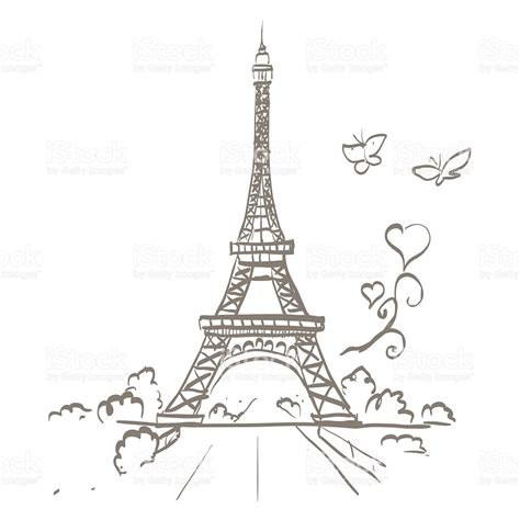 imagenes retro de la torre eiffel eiffel tower heart frame vector illustration stock vector