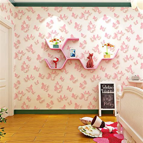 romantic pink kids bedroom wallpaper gilrs wallpapers free shipping pastoral butterfly wallpaper pink romantic