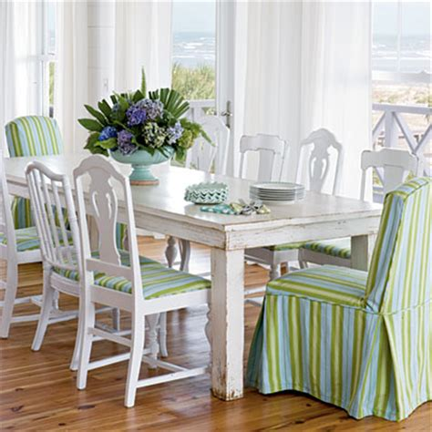 preppy white dining room striped chairs style