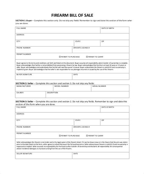 8 Firearm Bill Of Sale Sles Pdf Word Sle Templates Firearm Bill Of Sale Template
