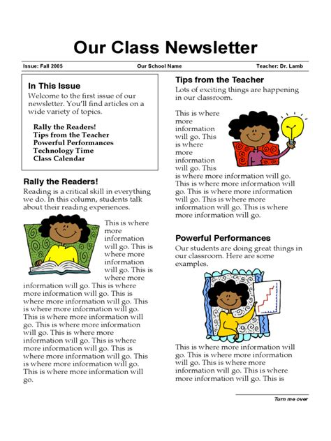 class newsletter template classroom newsletter template 3 free templates in pdf