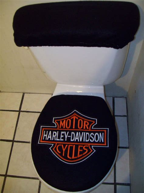 Harley Davidson Seat Cover by Harley Davidson Symbol Patch On Black Toilet Seat Cover