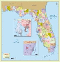 buy florida zip code map with counties 48 w x 49 h
