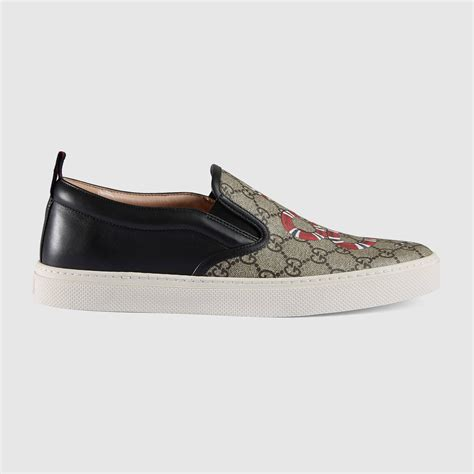 snake print slip on sneakers gucci snake print gg supreme slip on sneaker for lyst