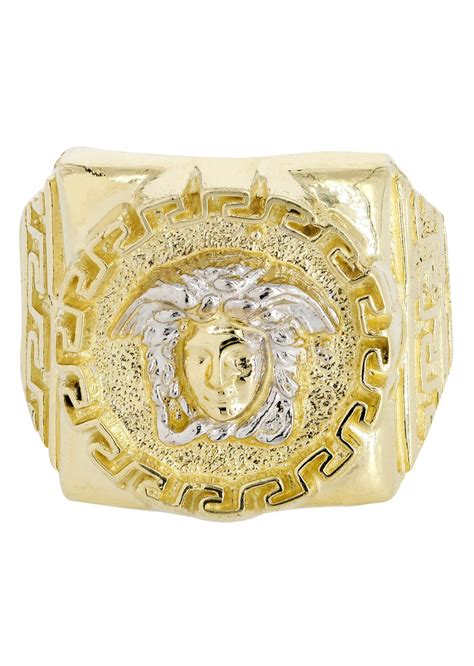 10k yellow gold versace style mens ring 6 5 grams
