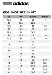 shoe size chart of adidas adidas kids shoe size chart nanima bizaar online shop