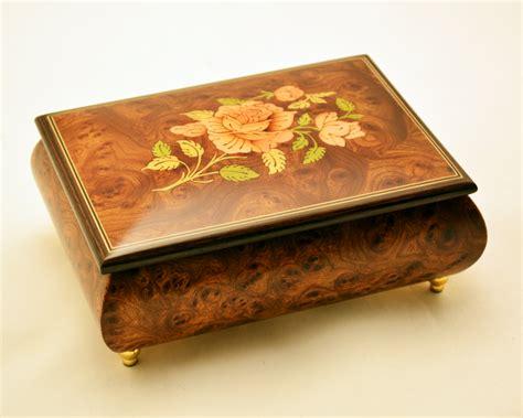 on flower burl box sorrento inlay matte burl elm musical jewelry box sorrento