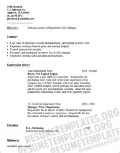 Resume For Store Manager by Department Store Manager Resume Template