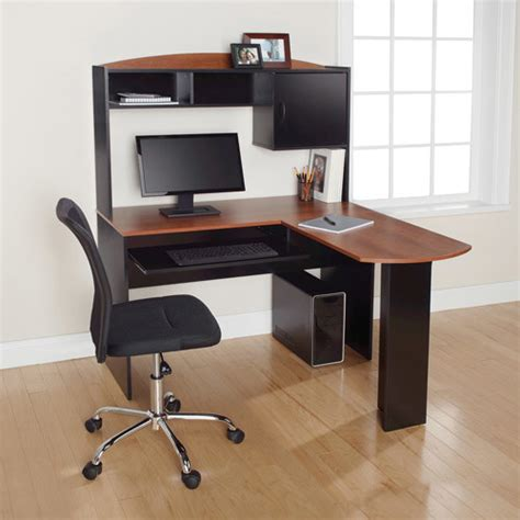 L Shaped Desk Cherry Mainstays L Shaped Desk With Hutch Black And Cherry Contemporary Desks Writing Bureaus