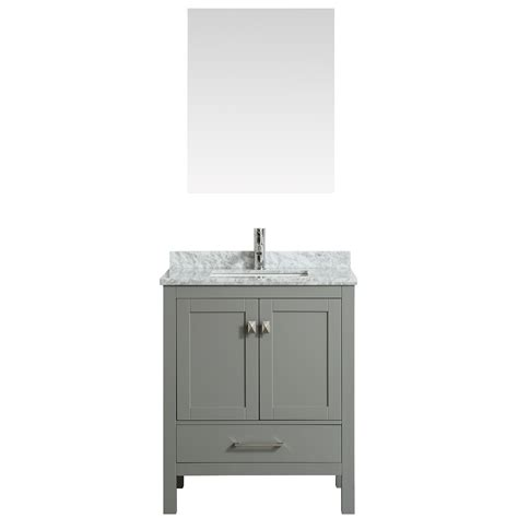 Eviva london 30 quot transitional grey bathroom vanity with white carrara marble countertop