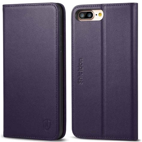 shieldon iphone   wallet case purple color genuine