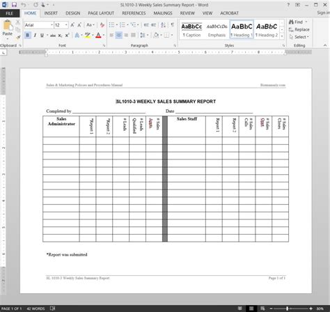 Weekly Sales Summary Report Template Weekly Summary Report Template
