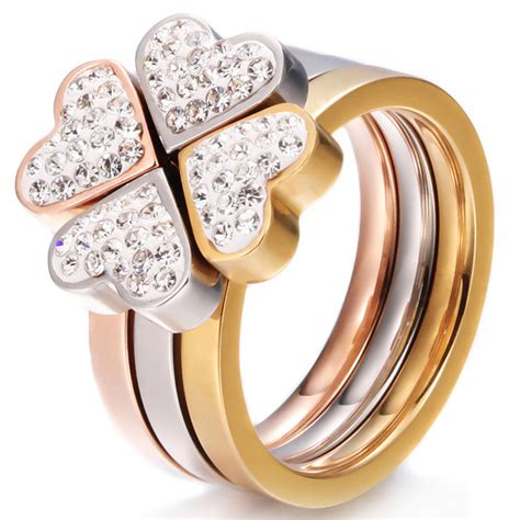 3 In 1 Rings 316l stainless steel jewelry unique 3in1 rings for surgical steel nickle free cz