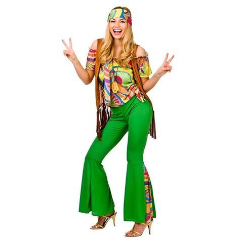 girls flower power hippie costume halloweencostumescom adult 60s 70s groovy lady hippy flower power womens ladies