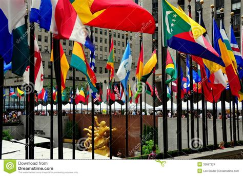 Flags Of The World New York City | nyc flags at rockefeller center editorial stock image