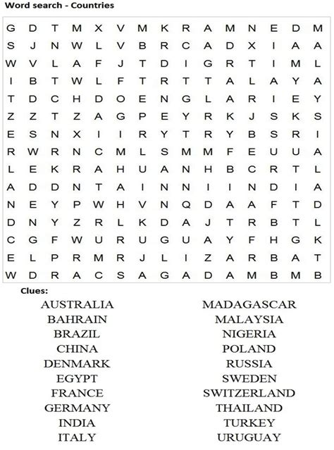 printable word search countries of the world word search countries