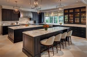 two kitchen islands kitchen with two black islands contemporary kitchen