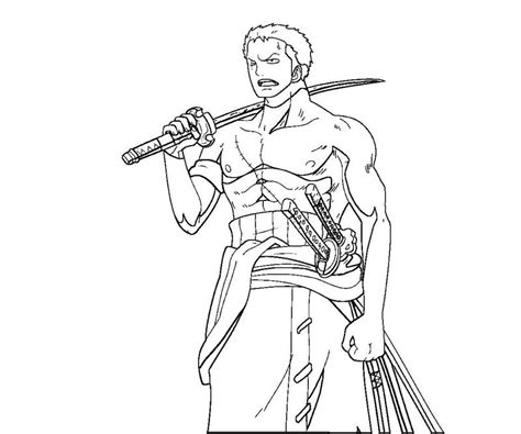 Coloring Page Zoro | roronoa zoro 5 coloring crafty teenager