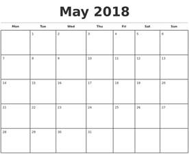 2018 Monthly Calendar Printable May 2018 Monthly Calendar Template