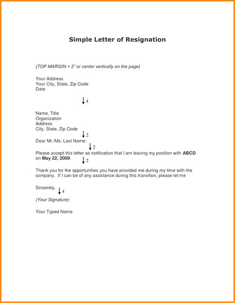 8 simple letter of resignation model resumed