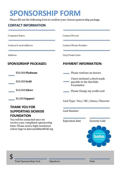 sponsorship receipt template sick sponsorship package