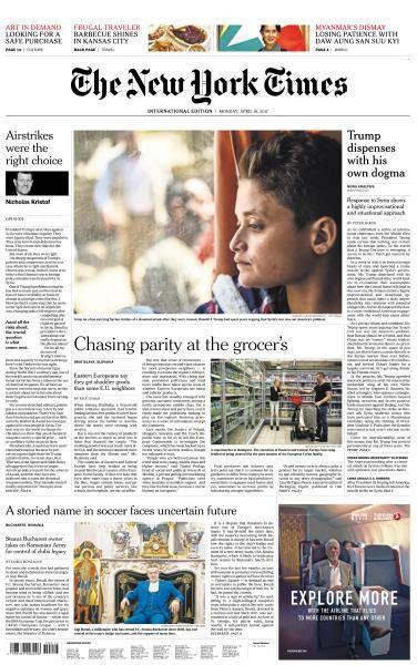 Pdf New York Times Free by International New York Times 10 April 2017 Pdf Free