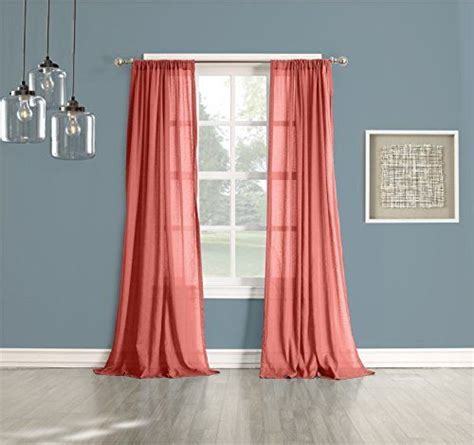 coral curtain sheers no 918 cory sheer curtain panel 50 by 84 inch coral ebay