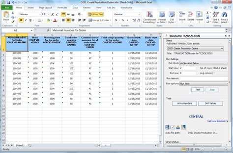 Sap Co01 Simplify Creation Of Production Orders Winshuttle Software Excel Transaction Template