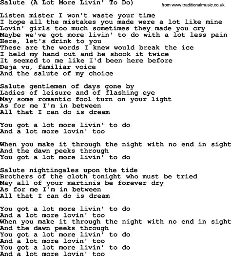 a song salute a lot more livin to do by gordon lightfoot lyrics