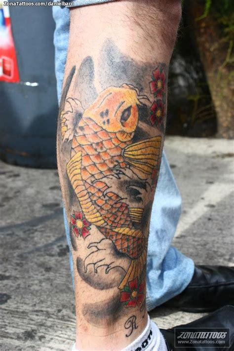 tattoo pez koi pierna tatuaje de koi peces animales