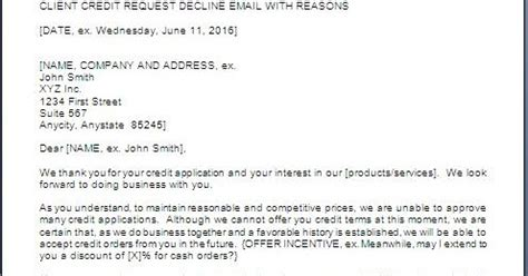 Declined Credit Card Letter To Customer Customer Credit Refusal Letter