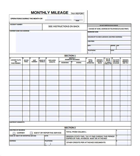 mileage report template monthly report 18 documents in pdf