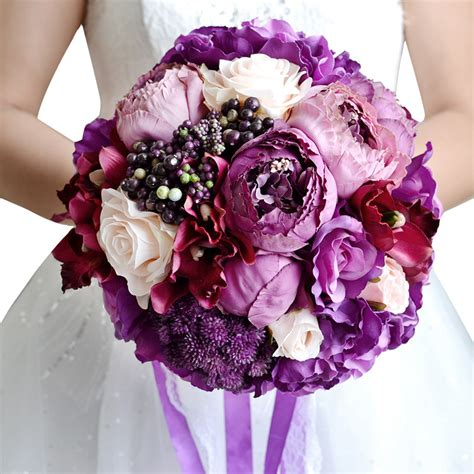 Purple Wedding Bouquets by Get Cheap Purple Wedding Bouquets Aliexpress