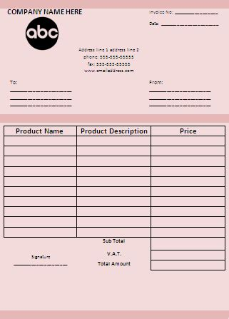 purchase invoice template business templates wordtemplateshub