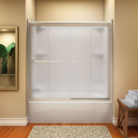 Installing Sterling Shower Door Sterling Finesse 59 5 8 In X 55 3 4 In Semi Frameless Sliding Shower Door In Frosted Nickel