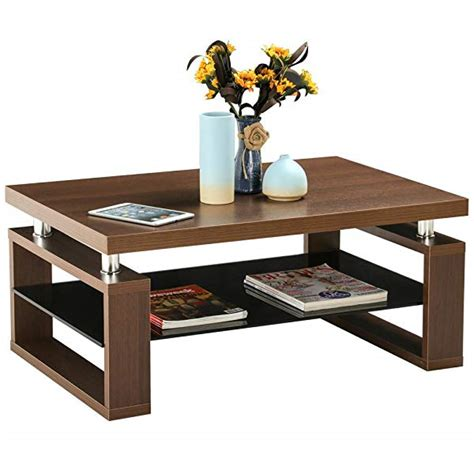 glass coffee table wooden legs amazon com yaheetech living room rectangular wood top